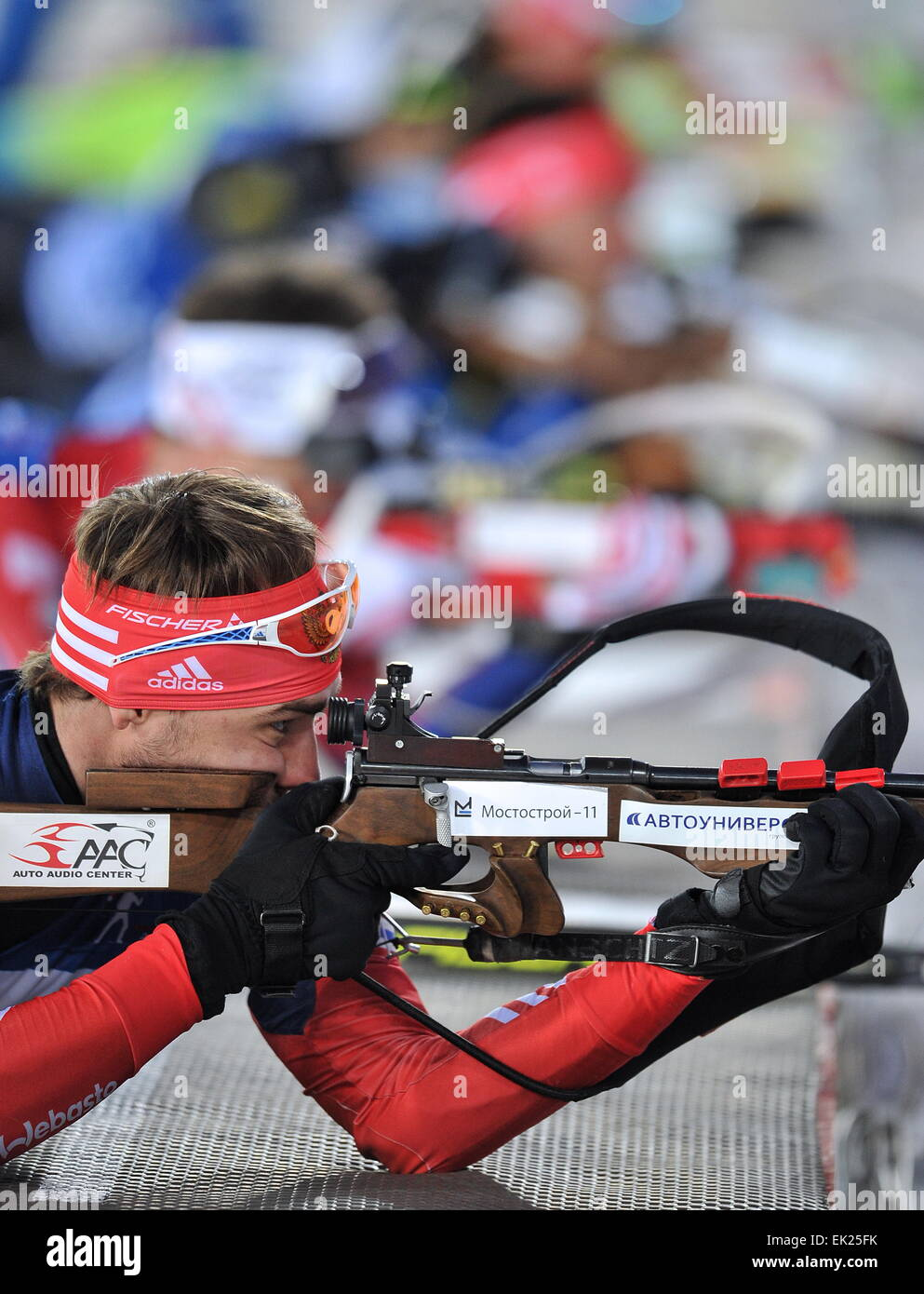 Tyumen, Russia. 4th Apr, 2014. Russia's Anton Shipolin competes in a mixed relay race at the 2015 Biathlon Champions - Stock Image