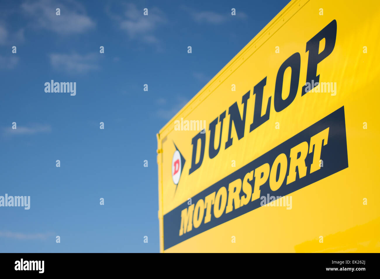 Brands Hatch, Fawkham, Longfield, UK. 5th April, 2015. A detail view of the Dunlop Motorsport signing during practice - Stock Image