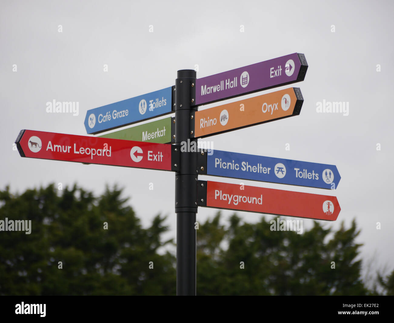 474324ec6 Direction signs pointing the way to attractions within Marwell Zoo,  hampshire, England