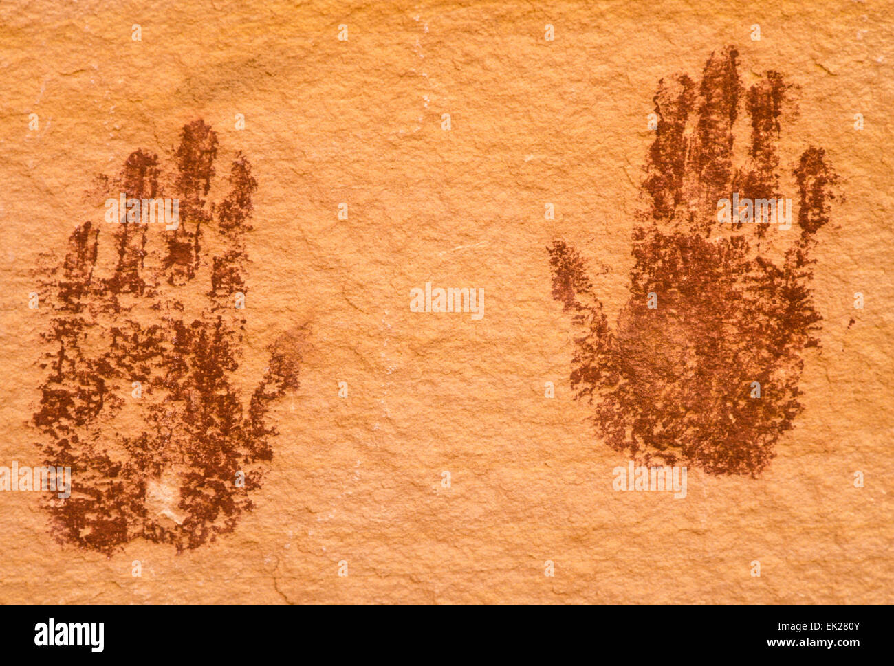 Anasazi indian hand print pictographs, Natural Bridges National Monument, Utah - Stock Image
