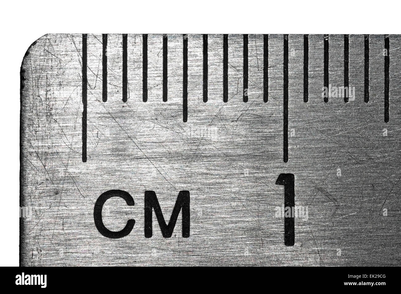 Close Up of Metric Brushed Steel Rule Calibrated in mm and cm - Stock Image