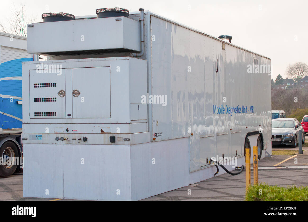 Mobile MRI scanning unit in a hospital car park horizontal view - Stock Image
