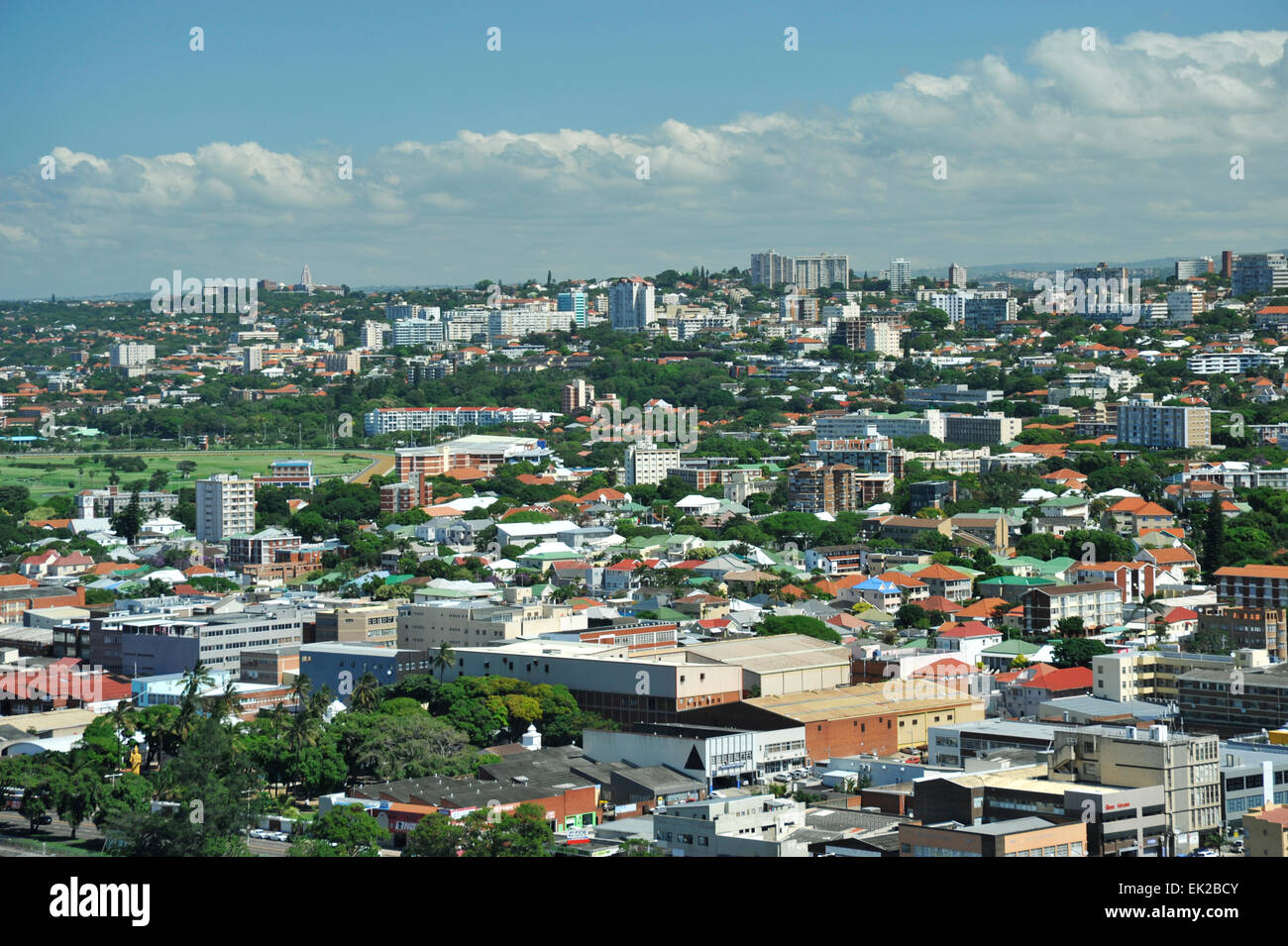 High view of Durban city suburbs Morningside and Essenwood, looking west, South Africa - Stock Image