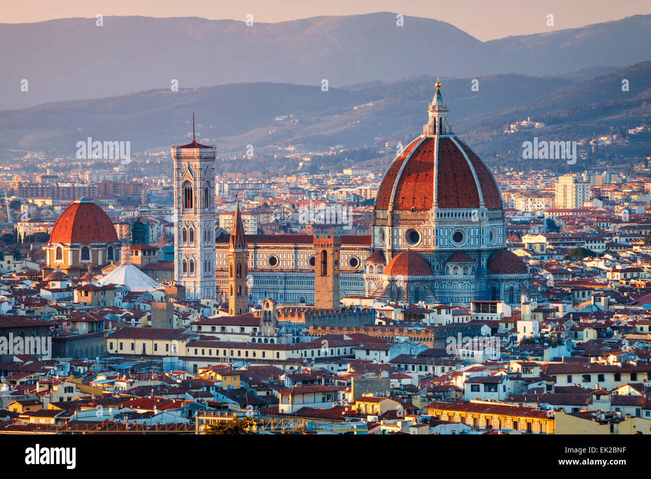 The Duomo of Florence at Sunset, Tuscany, Italy. - Stock Image