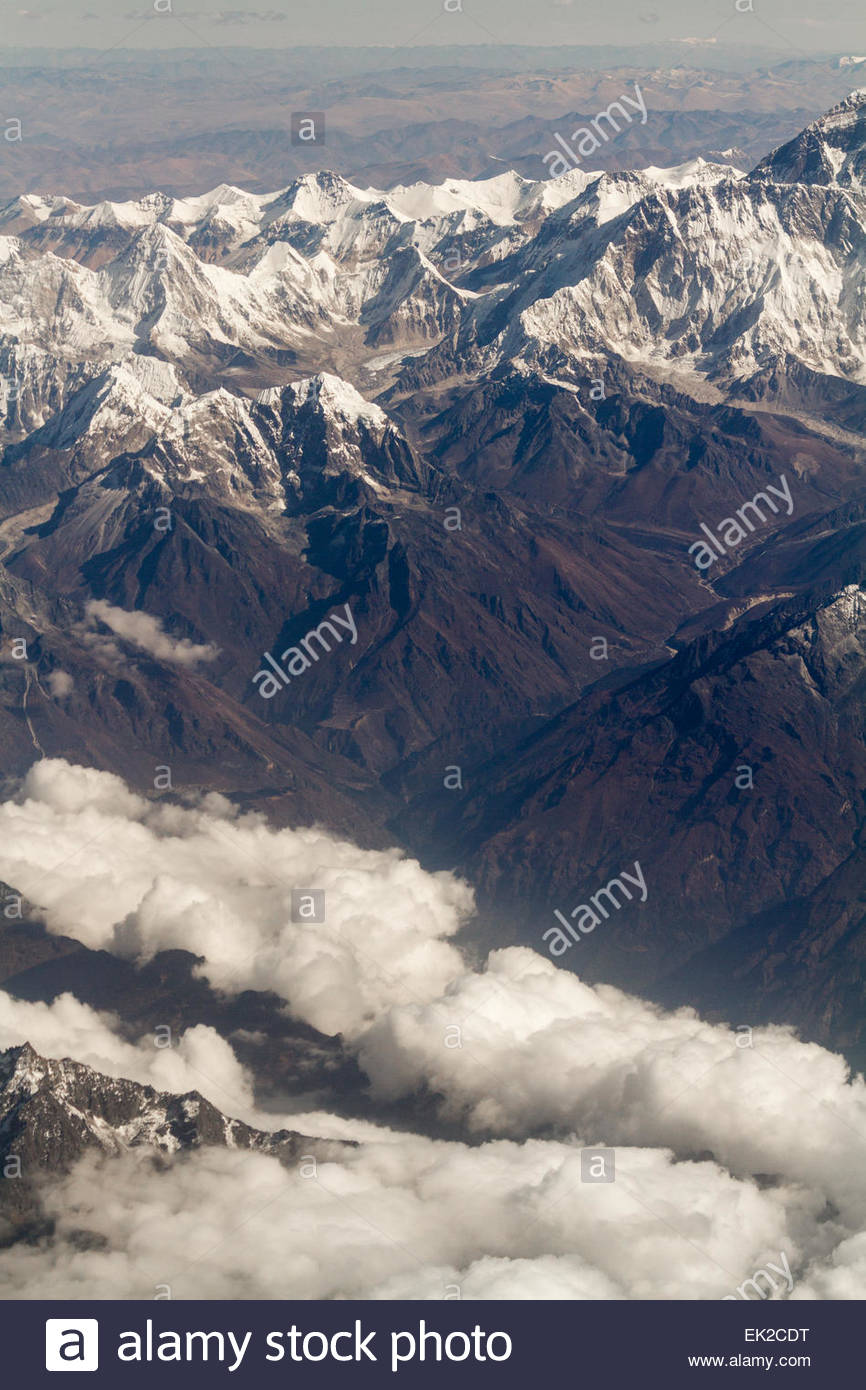 View of Himalayan Ranges - India - Stock Image