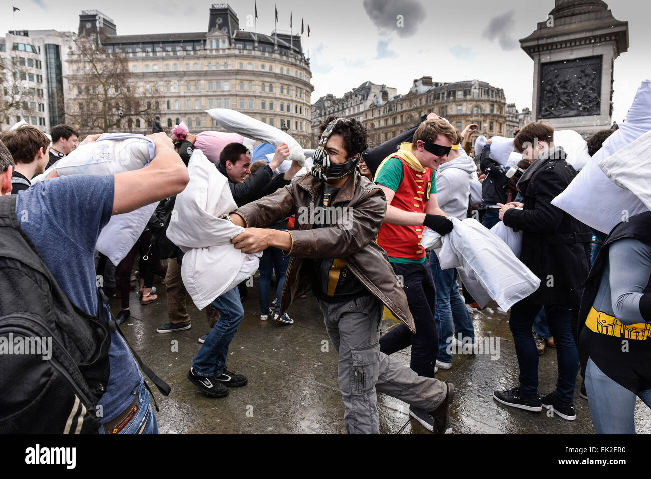 The International Pillow Fight day in Trafalgar Square, London. - Stock Image