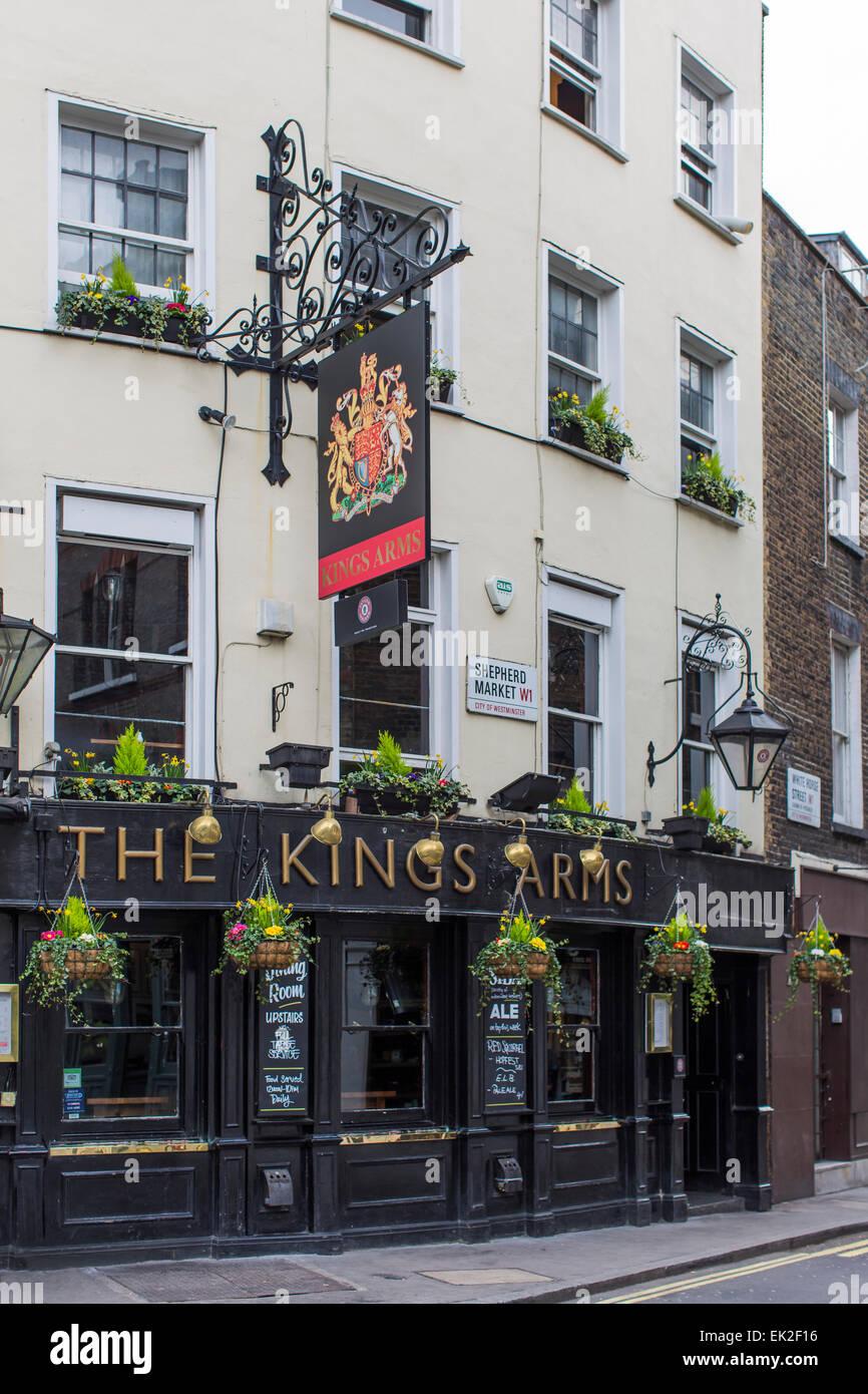 The Kings Arms Pub, Mayfair, London - Stock Image