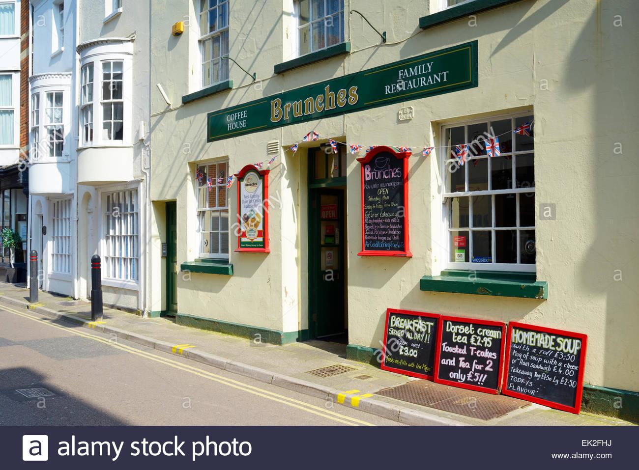 Brunches cafe, Maiden Street, Weymouth, Dorset, England UK - Stock Image
