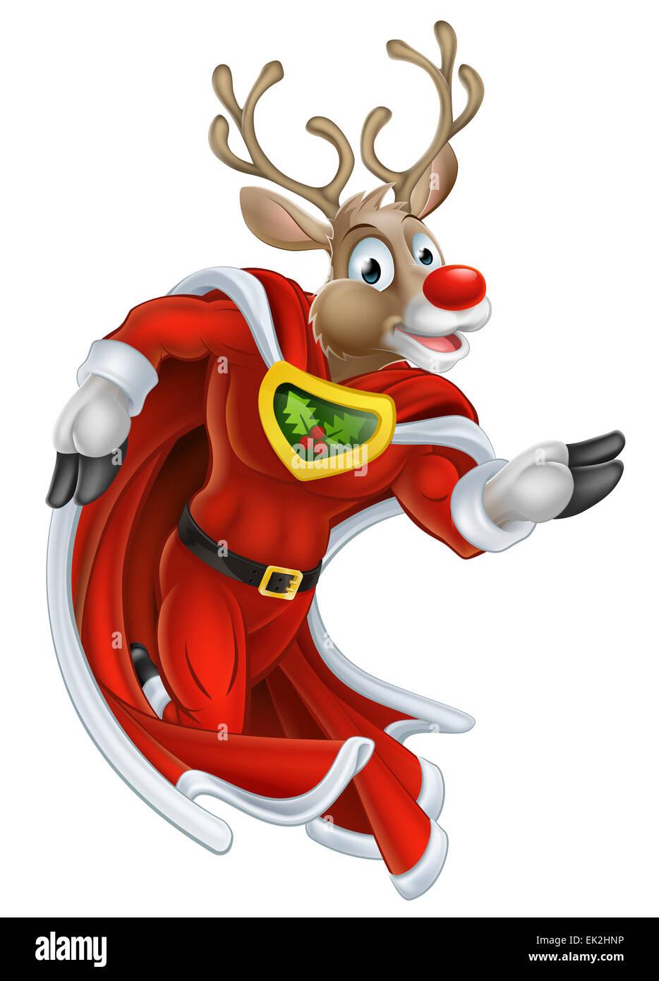 A cute cartoon superhero Christmas reindeer character running - Stock Image