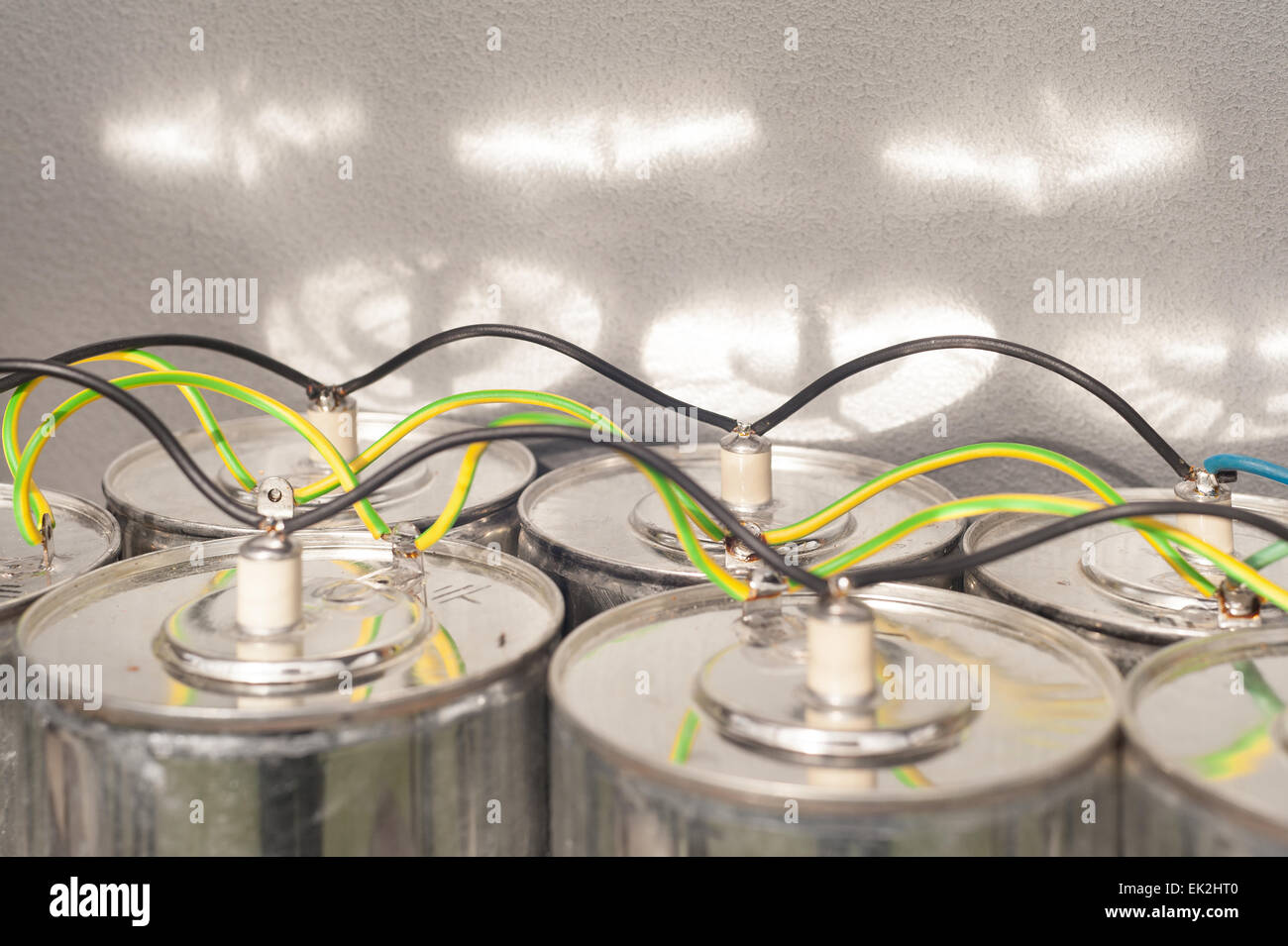 High Voltage Terminal Stock Photos Dangers Of Aluminum Wiring Dangerous Monster Sized Capacitors Wired In Parallel With Heavy Gage Wire Store Enough And