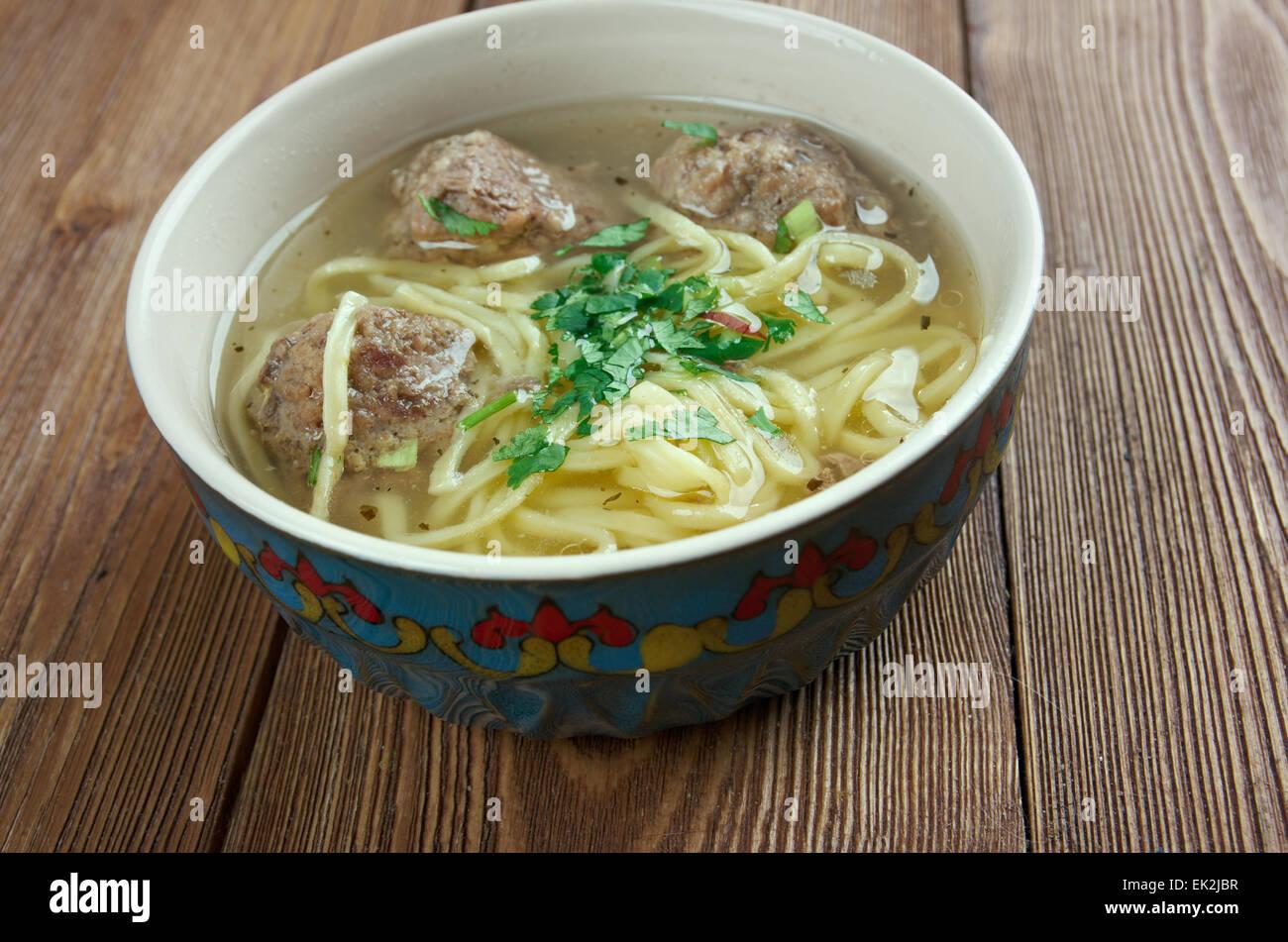 hamrashi - Azerbaijani soup with noodles and meatballs - Stock Image