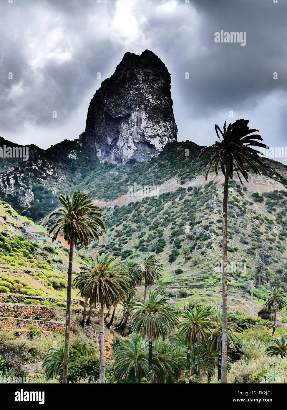 Roque Cano in Vallehermoso village La Gomera island Canary islands Spain - Stock Image