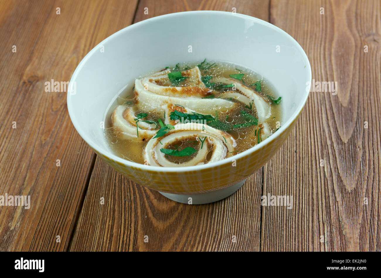 Pfannkuchensuppe - southern German dish from the region of Schwaben, made from savoury pancakes. - Stock Image