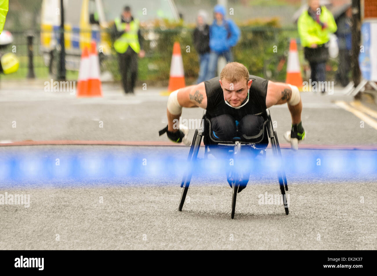Belfast, Northern Ireland. 5 May 2014 - Patrick Monaghan from Athlone about to take first place in the wheelchair - Stock Image