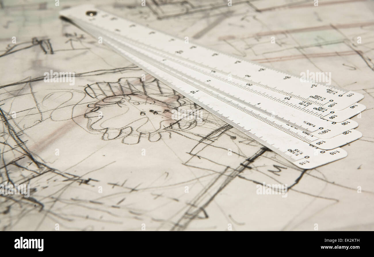 Metric folding ruler and architectural drawings of the modern house - Stock Image