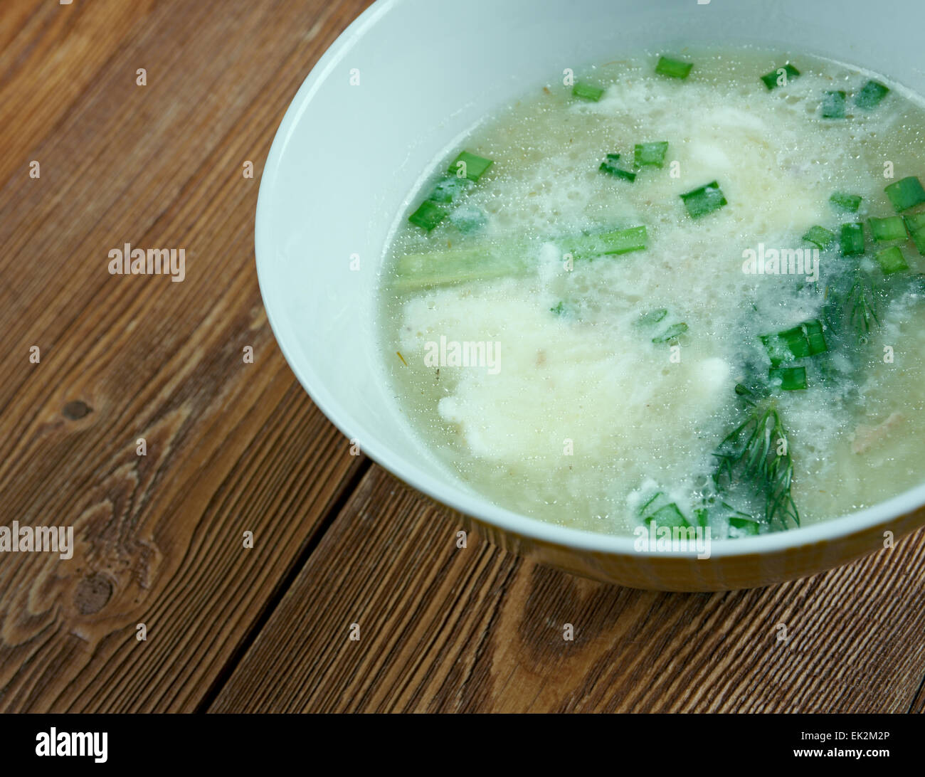 Sauer Suppe - Hot and sour soup of Bavarian cuisine - Stock Image