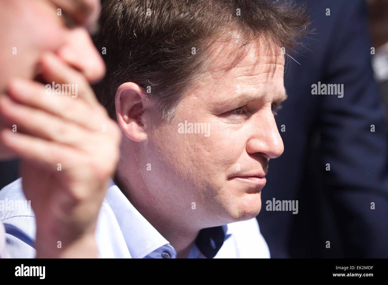 Liberal Democrats UK Election Campaign, Surbiton, Greater London. 6th April, 2015 Deputy Prime Minister and Lib - Stock Image