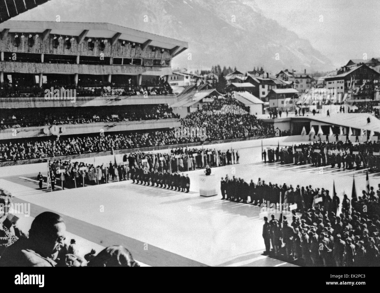 Italy. Opening of the VII Olympic Games in Cortina d'Ampezzo. - Stock Image