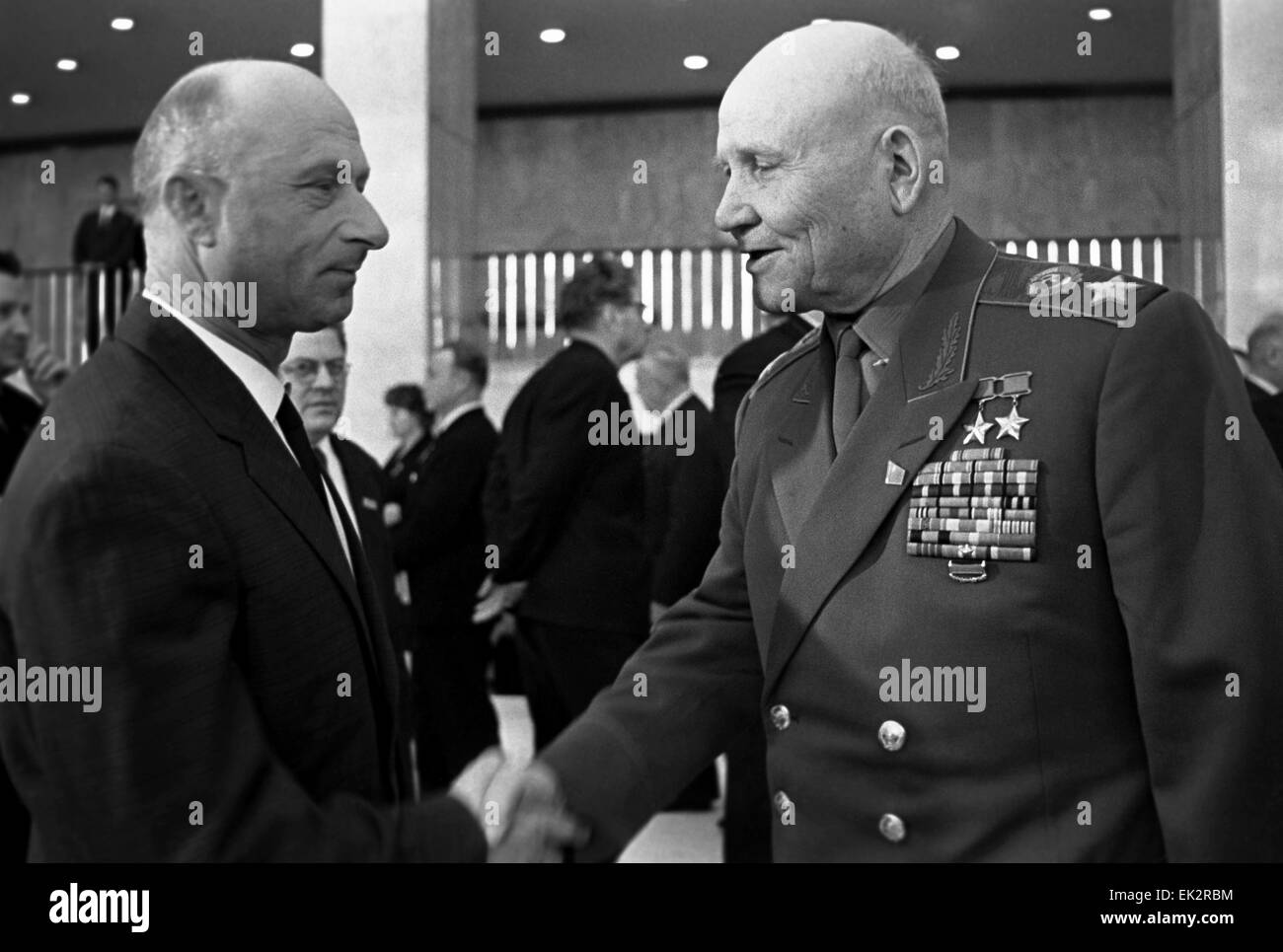 Moscow. XXIII Congress of the CPSU. Delegates of the Congress: junior sergeant Meliton Kantaria L and Marshal of - Stock Image