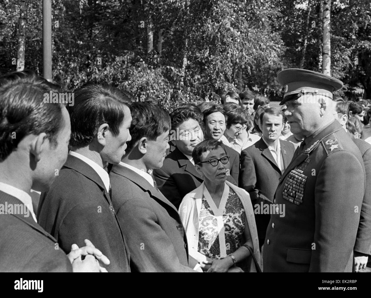 Moscow. Marshal of the Soviet Union Ivan Konev meets young people coming from the capitals of the Soviet republics. - Stock Image