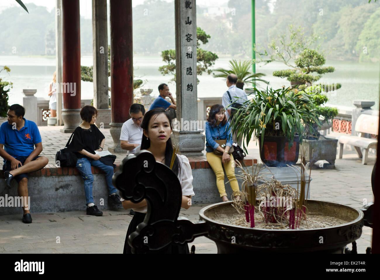 Ngoc Son Temple in the Hoan Kiem Lake. Hanoi, Vietnam. - Stock Image