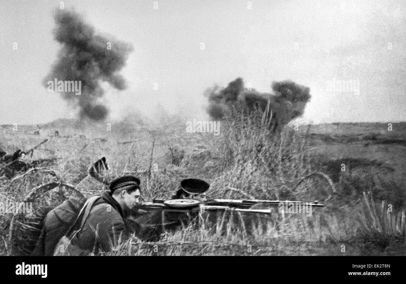 Crimea. Siege of Sevastopol. The marines deter the enemy forces. - Stock Image