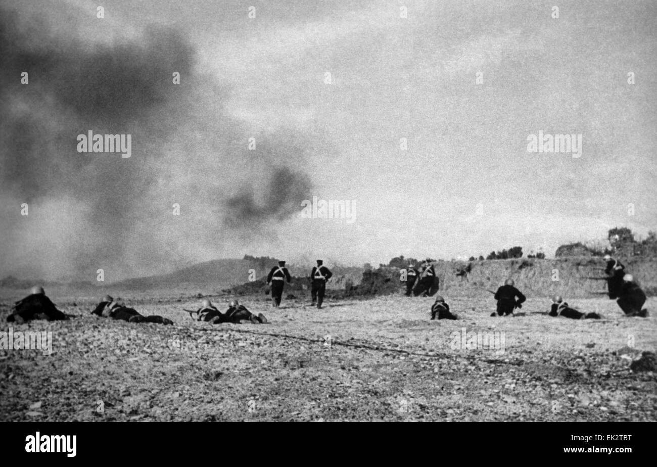 Siege of Sevastopol. The marines advance to the attack. - Stock Image