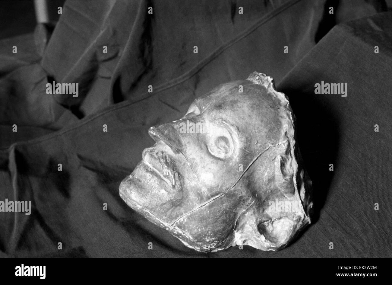 Moscow. The death mask of Nikolai Gogol is a work of sculptor Nikolai Ramazanov - Stock Image