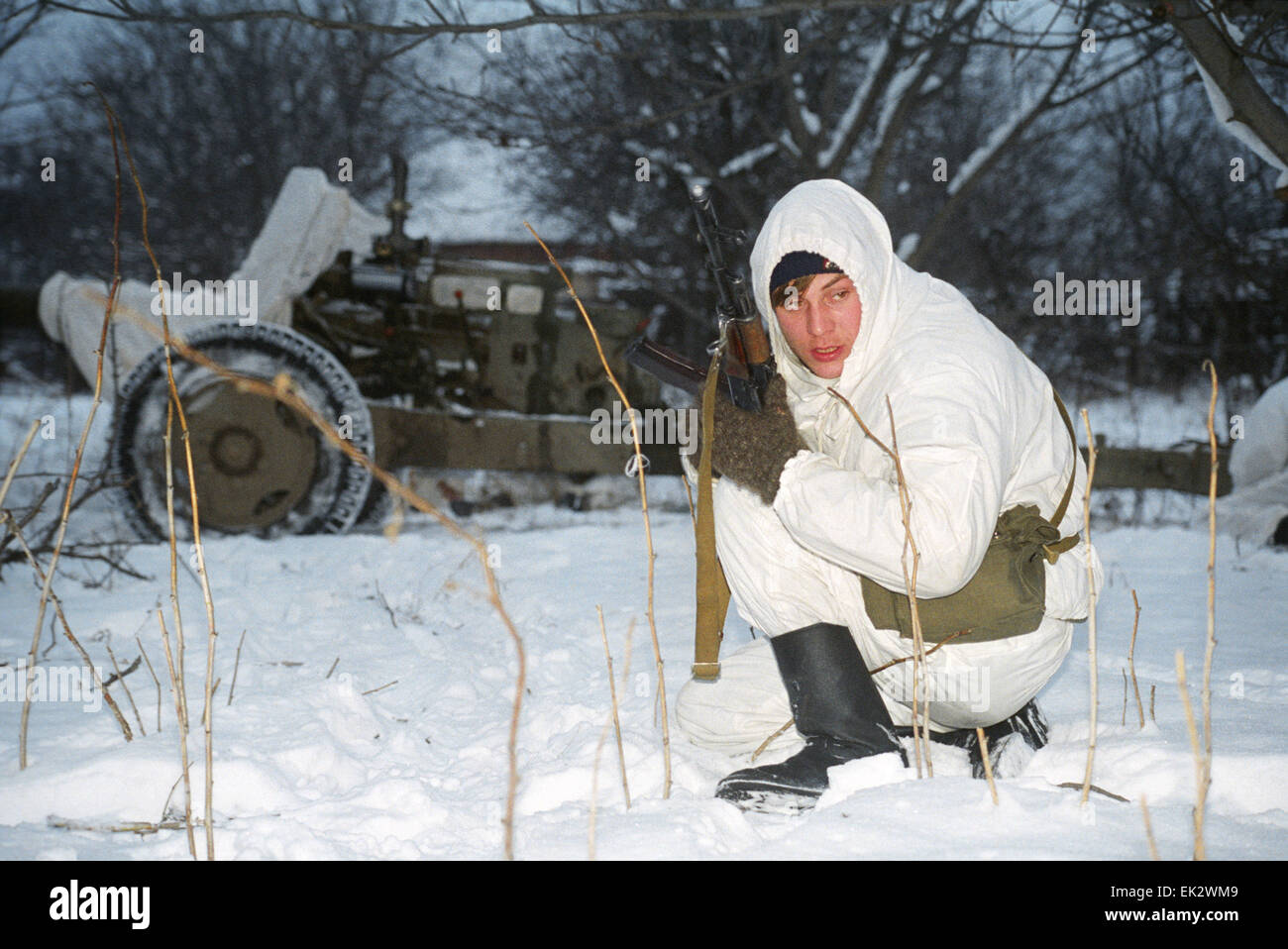 Grozny. A Chechen citizen soldier. - Stock Image
