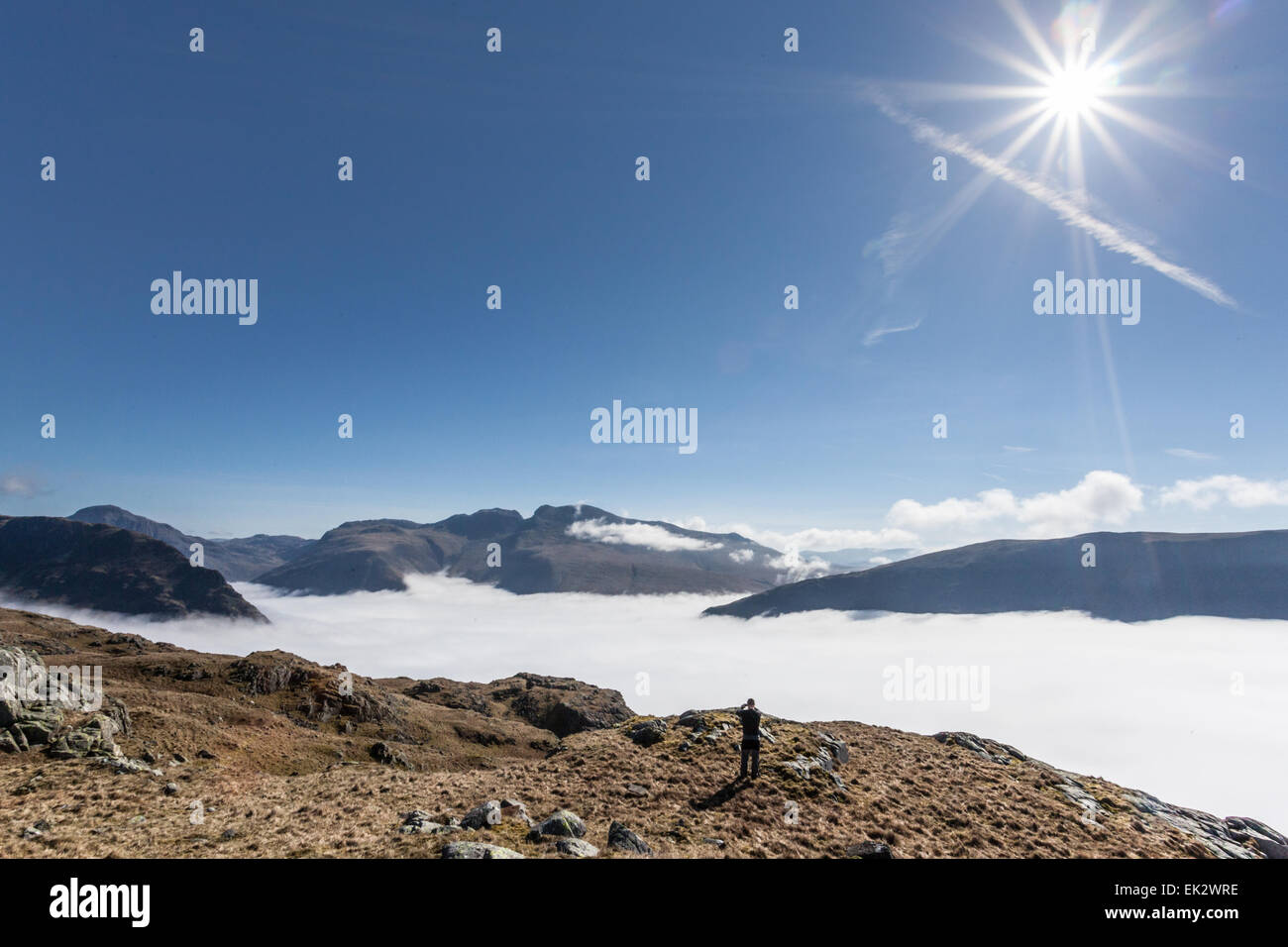 Cloud inversion over Wastwater looking towards Yewbarrow, Scafell Pike, Scafell and Wastwater Screes from Middle - Stock Image