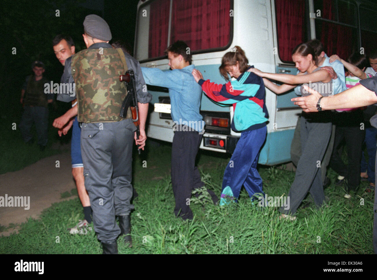Moscow. Russia. Inspection of Moscow Special Designation Police unit. Arrested drug users. - Stock Image