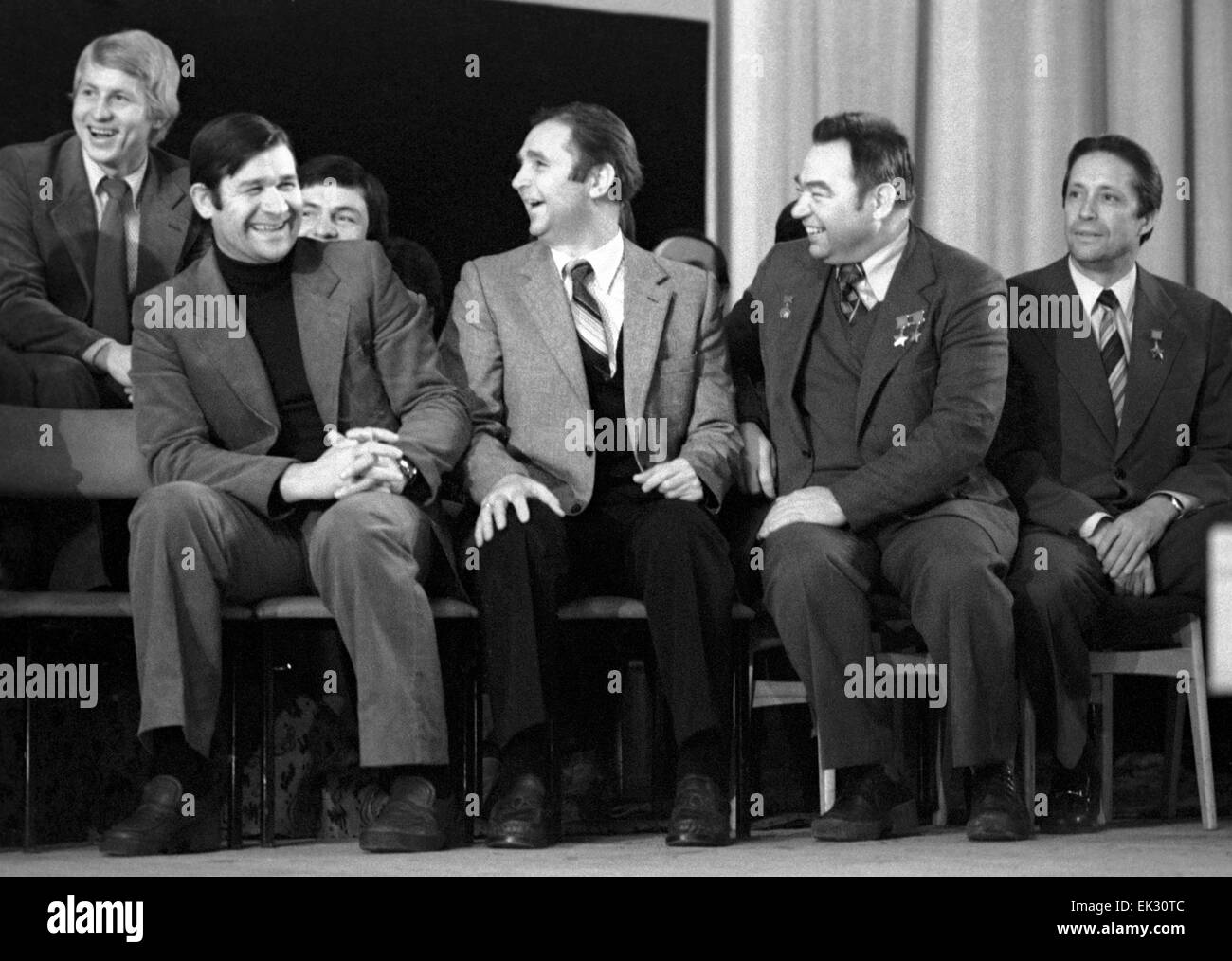 Moscow. USSR. Soviet art workers meeting Soviet ice-hockey players in cinema 'Varshava'. From left to right: - Stock Image