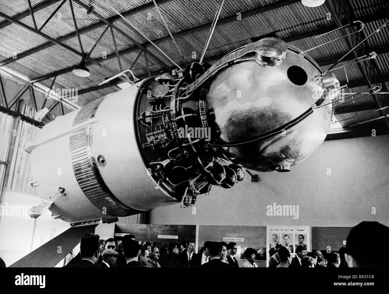 France. 26th International Aeronautics and Space Salon. The Soviet spaceship 'Vostok' that made the first - Stock Image