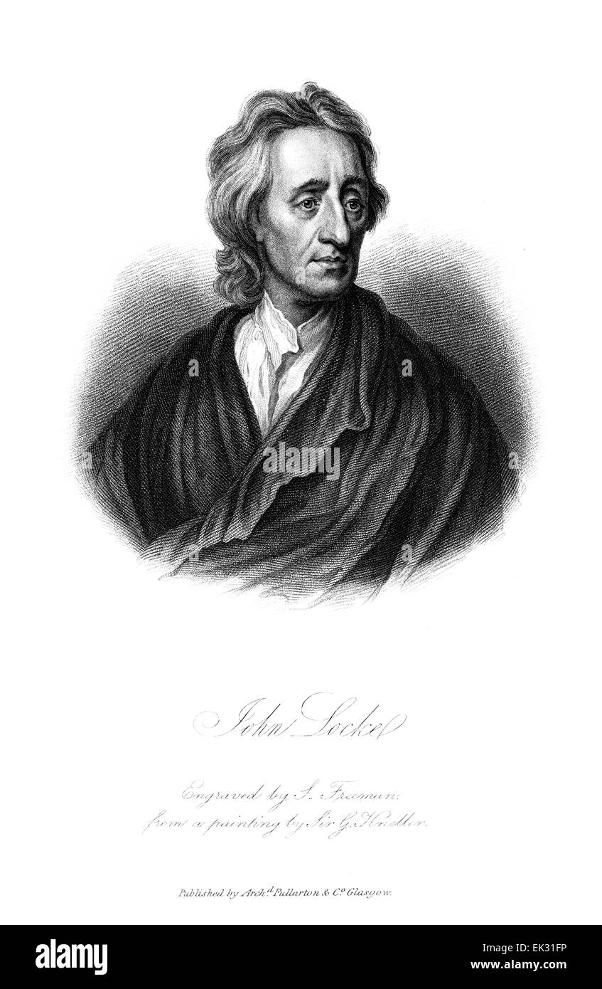 engraved portrait illustration of John Locke (1632-1704) was an English political philosopher and physician regarded - Stock Image