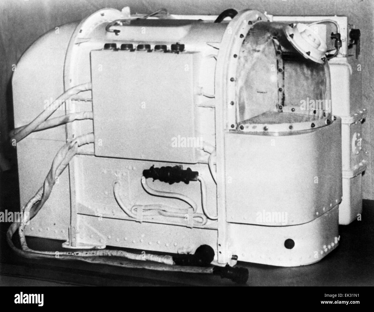 Moscow region. USSR. An animal container installed on the satellite Kosmos-110. Reproduction. - Stock Image