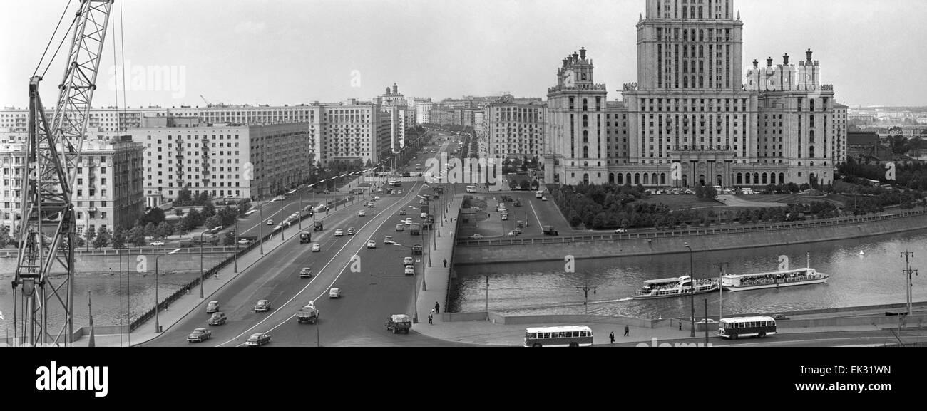 Moscow. USSR. Kalininsky Bridge and Kutuzov Avenue. - Stock Image