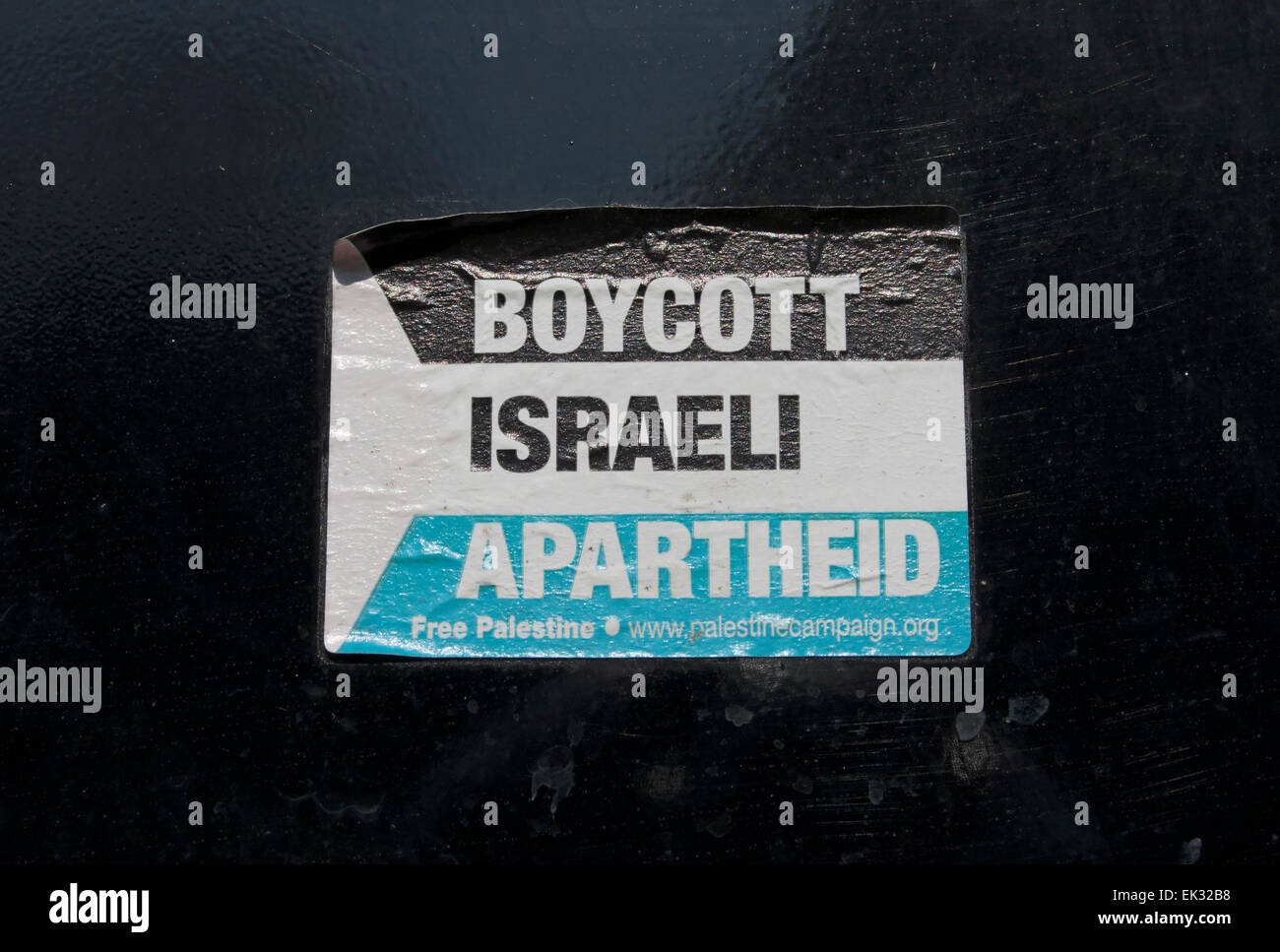 boycott israeli apartheid, sticker issued by the british palestine solidarity campaign - Stock Image