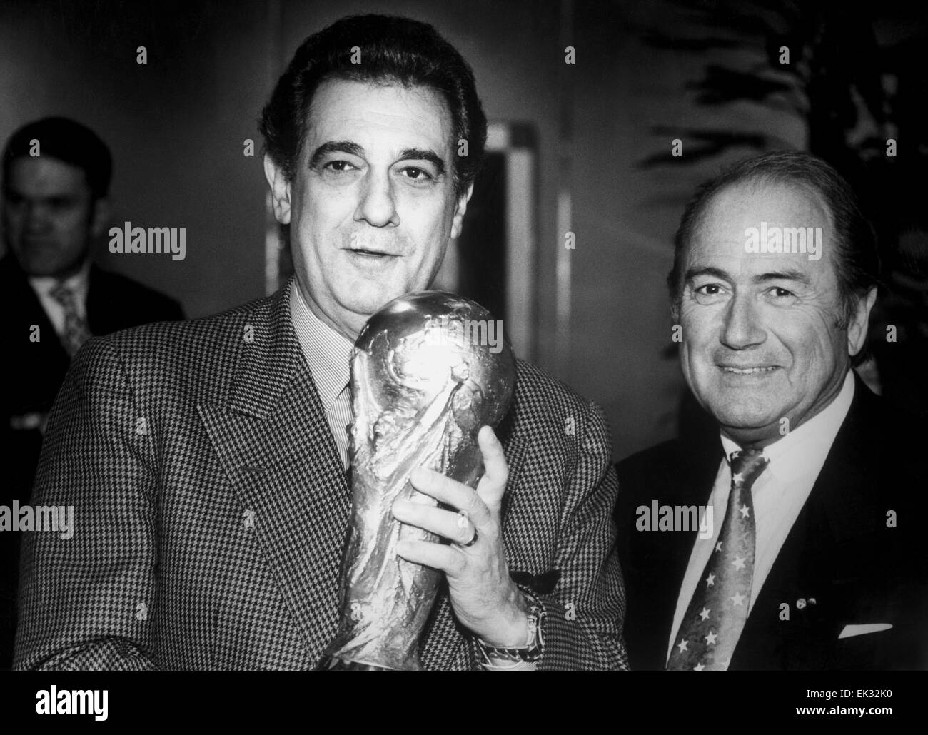 Switzerland. Spanish singer Placido Domingo L and President of FIFA Joseph Blatter. Reproduction. - Stock Image