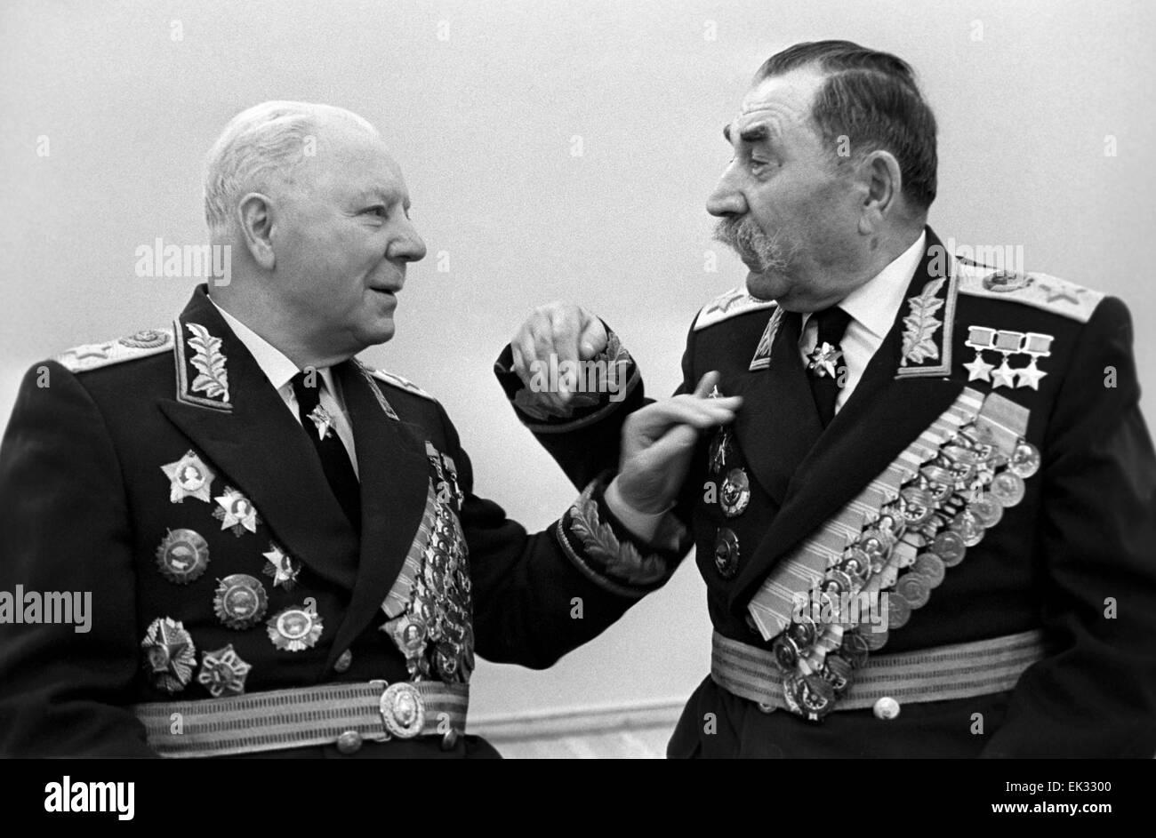 Moscow. USSR. Marshals of the USSR Kliment Voroshilov and Semyon Budyonny R. Stock Photo