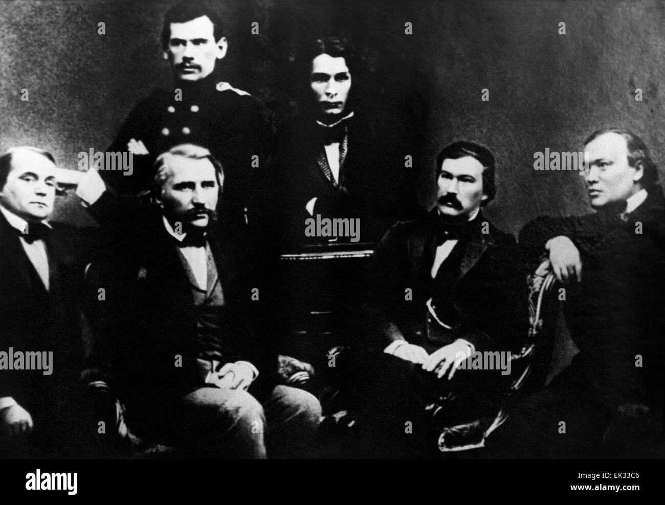Moscow. Russian Empire. Russian writers and contributors to Sovremennik journal L-R: Ivan Goncharov, Ivan Turgenev, - Stock Image