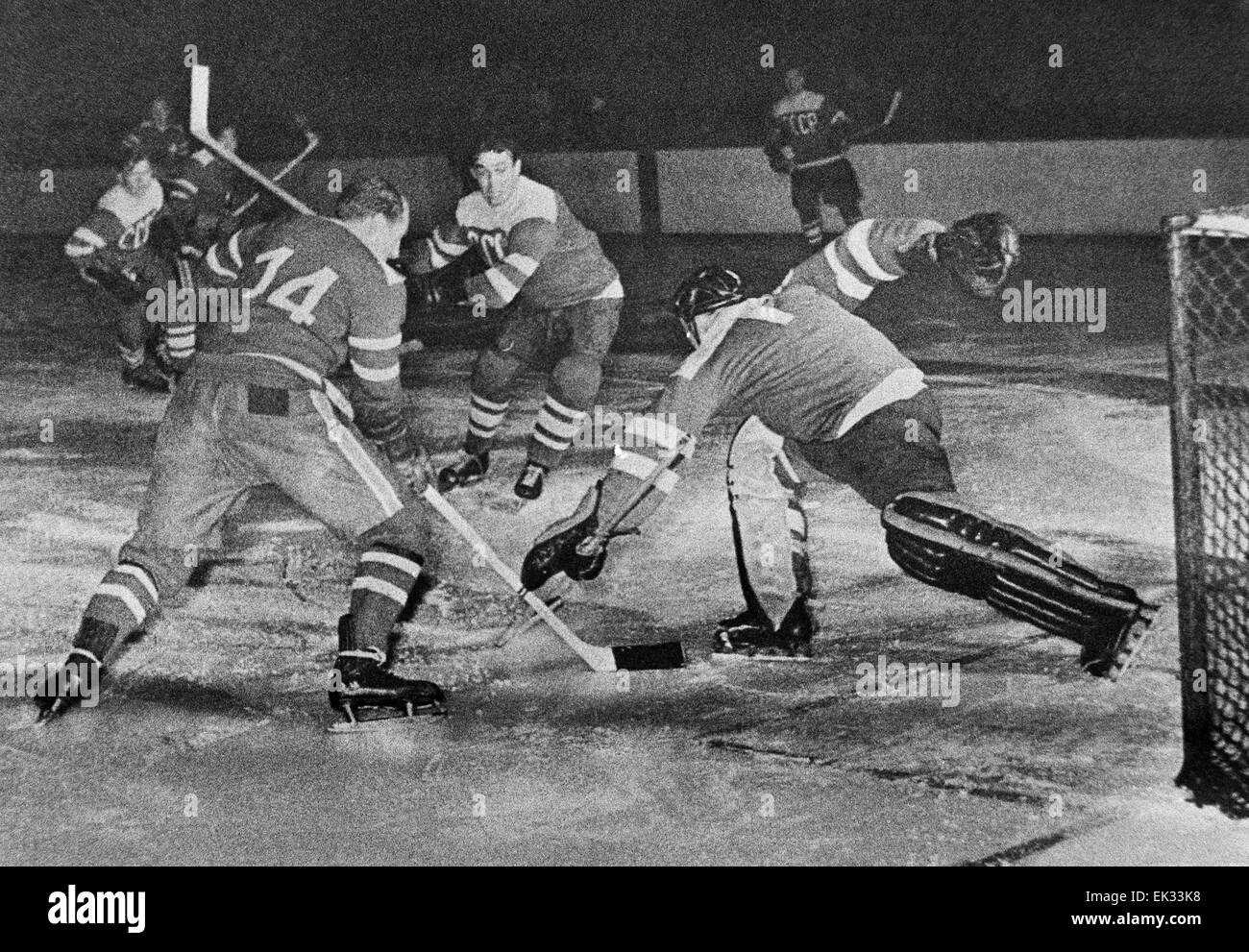 Stockholm. Sweden. The 21st World Ice-hockey championship. The match between the USSR and Sweden ended with 1:1. - Stock Image
