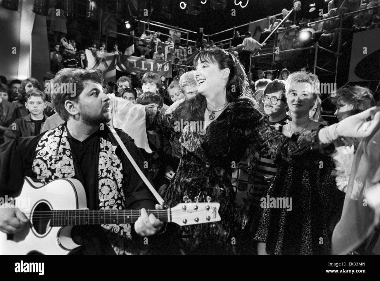 Moscow. Russia. Brain Ring TV show. Lolita and Alexander Tsekalo, members of Akademia pop group, performing. Stock Photo