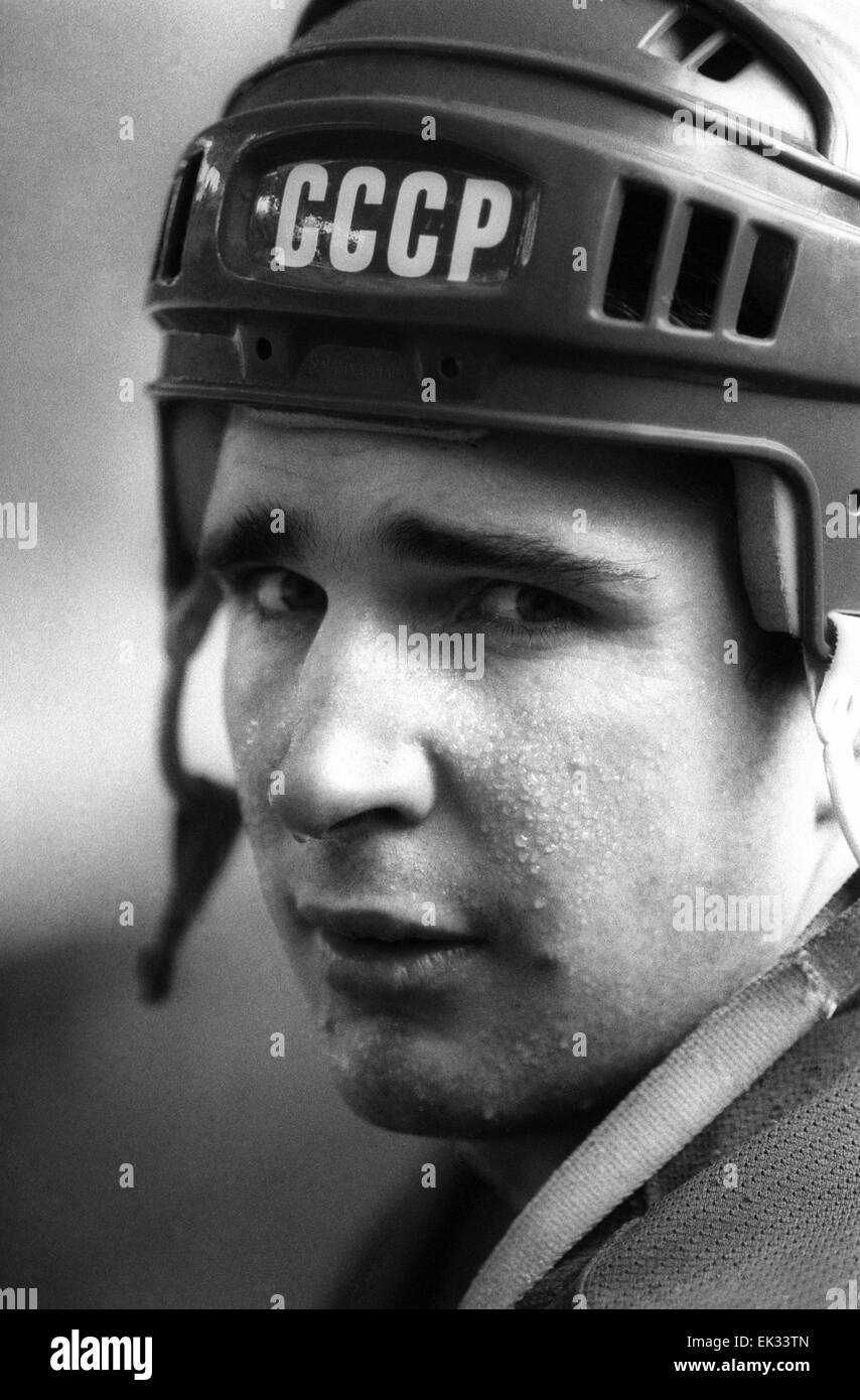 Moscow. Russian ice-hockey player Alexei Kasatonov, two-time Olympic champion, five-time champion of the world. - Stock Image