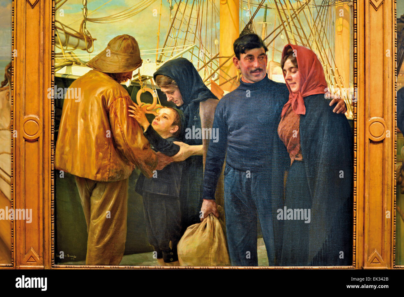 """Portugal, Lisbon: Historic painting """"O Marinheiro"""" with sailors saying good-bye to families in the Museum of Fado Stock Photo"""