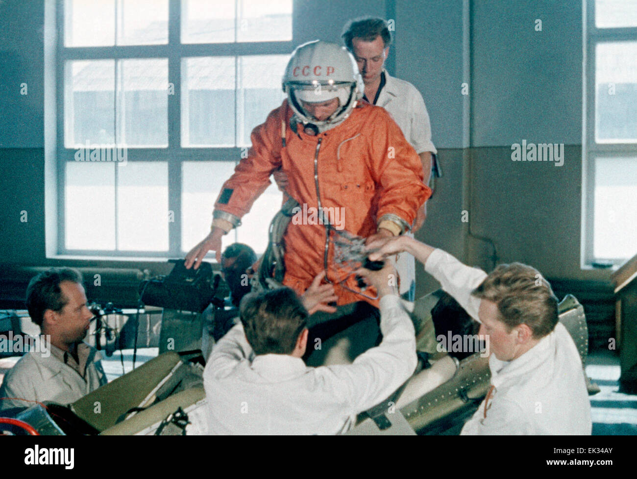 Baikonur Cosmodrome. Kazakh SSR. USSR. Preparation of first cosmonaut Yuri Gagarin to the space flight. - Stock Image