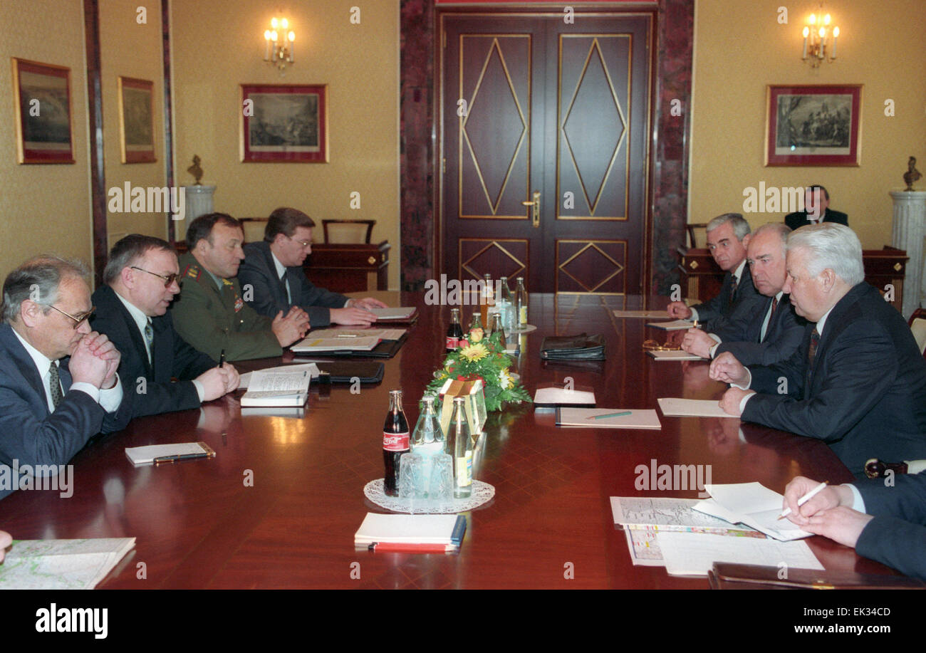 President Boris Yeltsin /right/ lashed out at the heads of power-wielding structures, opening an emergency meeting - Stock Image