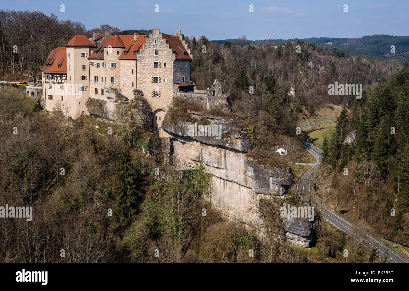 Raben, Germany. 28th Mar, 2015. Castle Rabenstein built in the High Middle Ages near Raben, Germany, 28 March 2015. - Stock Image