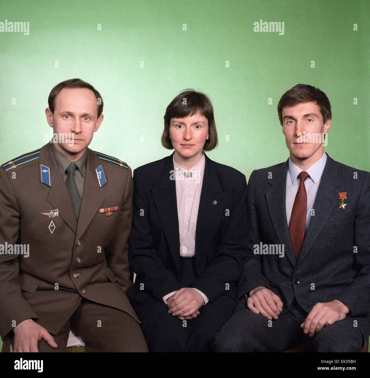 Moscow. USSR. Crew members of the joint Soviet-English space flight L-R: Anatoly Artsebarsky USSR, Helen Sharman - Stock Image