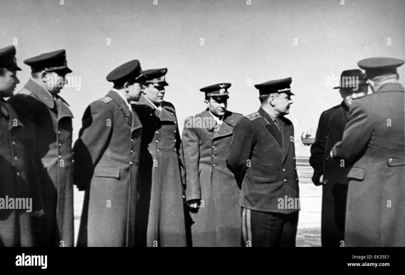 Kazakh SSR. USSR. Soviet cosmonauts Yuri Gagarin, Pavel Belyaev, Alexei Leonov, Yevgeny Khrunov, Dmitry Zaikin L - Stock Image
