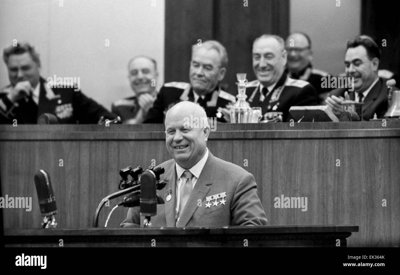 Moscow. USSR. First Secretary of the Communist Party of the Soviet Union Nikita Khrushchev C gives a speech during - Stock Image